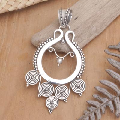 Sterling silver pendant, 'Rice Goddess' - Handcrafted Women's Modern Sterling Silver Pendant