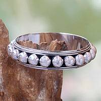 Sterling silver bangle bracelet, '21 Balls' - Sterling Silver Bangle Laced with Tiny Orbs