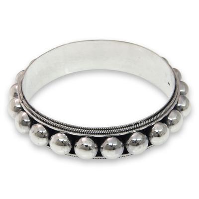 Sterling silver bangle bracelet, '21 Balls' - Sterling silver bangle bracelet