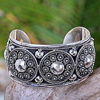 Sterling silver cuff bracelet, 'Modern Traditions' - Handmade Sterling Silver Cuff Bracelet with Floral Motifs