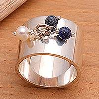 Cultured pearl and lapis lazuli cocktail ring, 'Ode to Friendship' - Pearl and Lapis Lazuli Wide Band Ring Balinese Jewelry