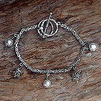Pearl charm bracelet, 'Java Mermaid' - Pearl charm bracelet