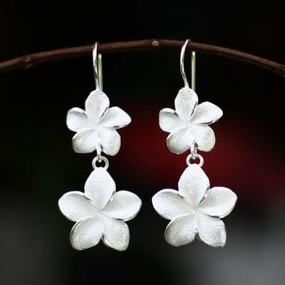 Earrings, 'Frangipani Twins' - Floral Sterling Silver Dangle Earrings