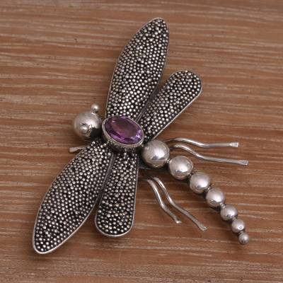 Amethyst brooch pin, Enchanted Dragonfly