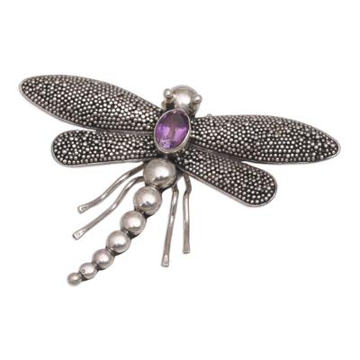 Amethyst brooch pin, 'Enchanted Dragonfly' - Amethyst brooch pin