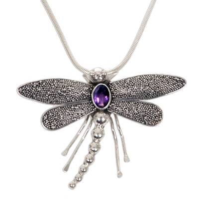 Amethyst pendant necklace, 'Enchanted Dragonfly' - Sterling Silver and Amethyst Pendant Necklace