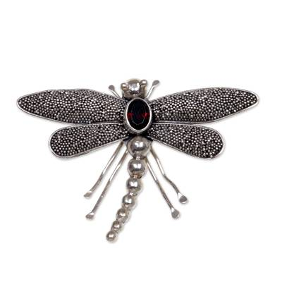 Garnet brooch pin, 'Enchanted Dragonfly' - Sterling Silver Garnet Dragonfly Brooch Pin