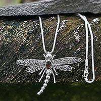 Garnet pendant necklace, 'Enchanted Dragonfly' - Garnet pendant necklace
