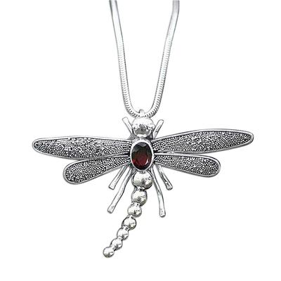 Garnet pendant necklace, 'Enchanted Dragonfly' - Garnet pendant necklace