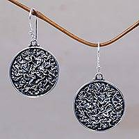 Sterling silver dangle earrings, 'Full Moon' - Modern Sterling Silver Dangle Earrings