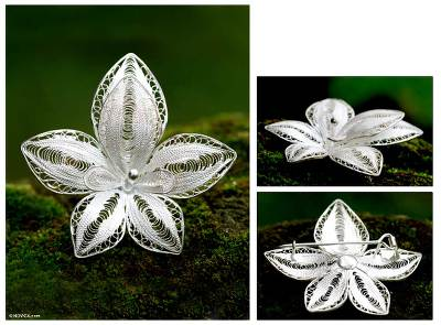 Sterling silver brooch pin, Regal Orchid