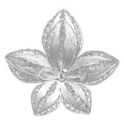 Sterling silver brooch pin, 'Regal Orchid' - Sterling Silver Flower Brooch Pin