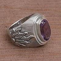 Men's amethyst ring, 'Violet Flame' - Sterling Silver and Purple Handcrafted Ring