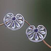 Amethyst flower earrings, 'Polished Petals' - Floral Sterling Silver Amethyst Button Earrings