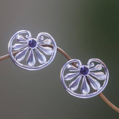 Amethyst flower earrings, 'Polished Petals' - Floral Sterling Silver Amethyst Button Earrings