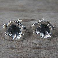 Sterling silver flower earrings, 'Silver Allamanda'