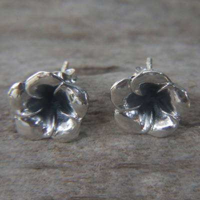 Sterling silver flower earrings, 'Silver Allamanda' - Floral Sterling Silver Stud Earrings