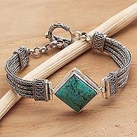 Sterling silver pendant bracelet, 'Promise'