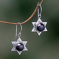Pearl dangle earrings, 'Black Bali Star' - Pearl dangle earrings