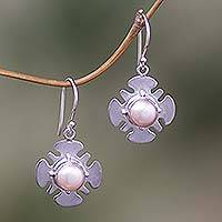 Pearl dangle earrings, 'Rose Silhouette' - Modern Pearl Sterling Silver Dangle Earrings
