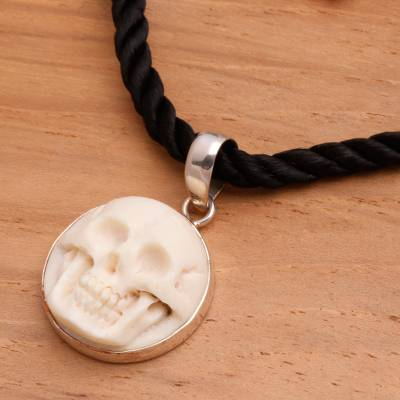 Bone choker, 'Immortal Smile' - Handcrafted Bone Pendant Necklace