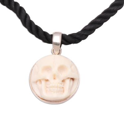 Bone choker, 'Immortal Smile' - Handcrafted Bone Pendant Necklace