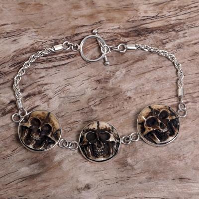 Bone pendant bracelet, 'Aged Immortal Smile' - Indonesian Bone Sterling Silver Link Bracelet
