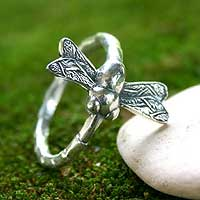 Men's sterling silver ring, 'Dragonfly Fortunes'