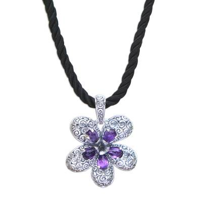 Amethyst pendant necklace, 'Plumeria' - Floral Amethyst Pendant Necklace Crafted in Bali