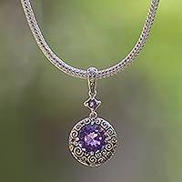 Amethyst pendant necklace, 'Moonlight Dazzle' - Sterling silver pendant necklace