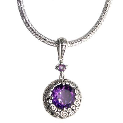 Amethyst pendant necklace, 'Moonlight Dazzle' - Sterling Silver and Amethyst Pendant Necklace from Bali