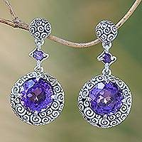 Amethyst dangle earrings, 'Moonlight Dazzle' - Amethyst dangle earrings