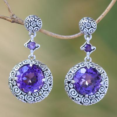 Amethyst dangle earrings, 'Moonlight Dazzle' - Amethyst dangle earrings
