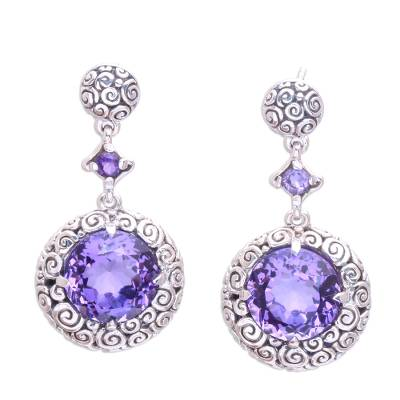 Amethyst dangle earrings, 'Moonlight Dazzle' - Buddha Curl Motif Amethyst Dangle Earrings from Bali