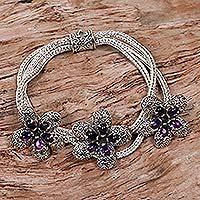 Amethyst flower bracelet, 'Plumeria' - Amethyst flower bracelet