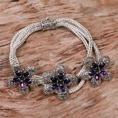 Amethyst pendant bracelet, 'Plumeria' - Amethyst flower bracelet