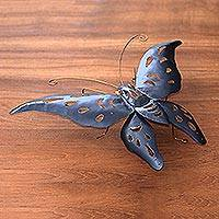 Iron wall decoration, 'Sapphire Butterfly' - Hand Made Iron Wall Accent