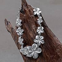 Charm bracelet, 'Frangipani Glam' - Women's Floral Sterling Silver Link Bracelet