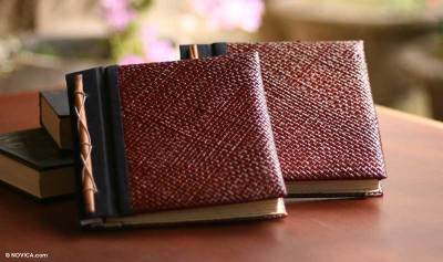 Natural fiber photo albums, 'Eco-Friendly Brown' (medium, pair) - Natural Fiber Photo Albums (Pair)