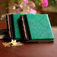 Natural fiber photo albums, 'Eco-Friendly Green' (large, pair) - Natural fiber photo albums (Large, Pair)