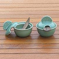 Ceramic spice-serving set, 'Spice of Life'  - Handmade Ceramic Salt and Pepper Bowls