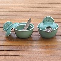 Ceramic spice-serving set, 'Spice of Life'  - Handmade Ceramic Salt and Pepper Bowls