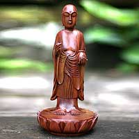 Wood sculpture, 'Buddha's Holy Blessing' - Unique Suar Wood Sculpture