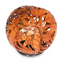 Coconut shell sculpture, 'Seahorse Fantasy' - Coconut shell sculpture
