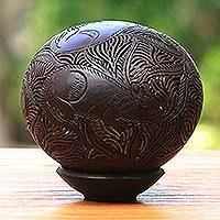 Coconut shell sculpture, 'Rat' - Coconut Shell Sculpture
