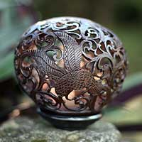 Coconut shell sculpture, 'Flying Birds' - Coconut shell sculpture
