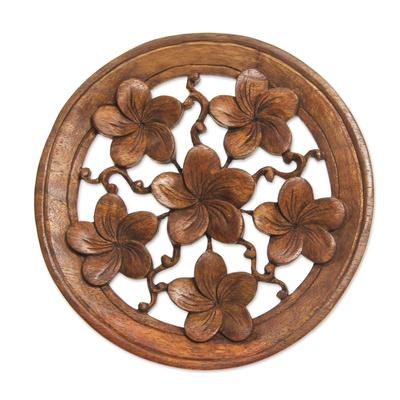 Wood wall panel, 'Frangipani' - Hand Made Wood Relief Panel