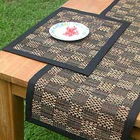 Natural fibers table runner and placemats, 'Chess Board in Black' (set for 4) - Natural fibers table runner and placemats (Set for 4)