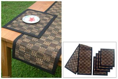 Natural Fibers Table Runner And Placemats Set For 4 Chess Board