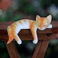 Wood statuette, 'Snoozing Ginger Tabby' - Wooden Cat Sculpture